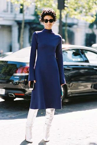 vanessa jackman blogger dress midi dress winter dress blue dress boots