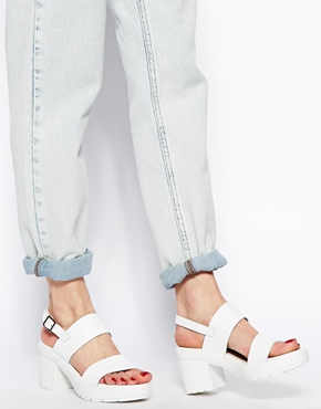 ASOS | ASOS HAT TRICK Leather Heeled Sandals at ASOS