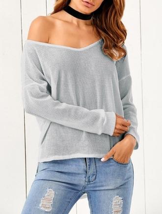 sweater girly girl girly wishlist off the shoulder off the shoulder sweater grey