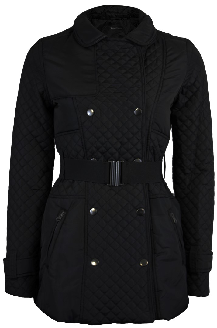 NEW WOMENS LADIES DIAMOND QUILTED BELTED BUTTON JACKET TOP MILITARY COAT | eBay