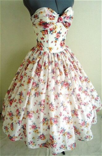 dress floral clothes tumblr white beautiful girly cute flowers long dress white dress poofy dress strapless dress tan dress sleeveless dress floral dress 50s style tumblr dress jewels sweetheart neckline vintage dress