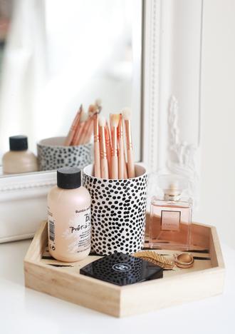 home accessory home decor wood tray cosmetics bathroom perfume polka dots animal print makeup brushes blogger