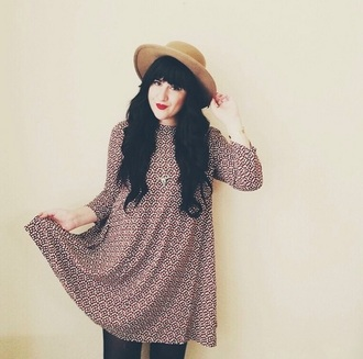 dress swing dress burgundy pattern long sleeves clothes blogger flashes of style