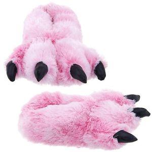 Wishpets Grizzly Pink Bear Animal Furry Fuzzy Soft Paw Claw Slippers Shoe | eBay