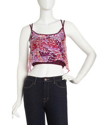 KAS Designs Cropped Floral-Print Camisole - Neiman Marcus Last Call