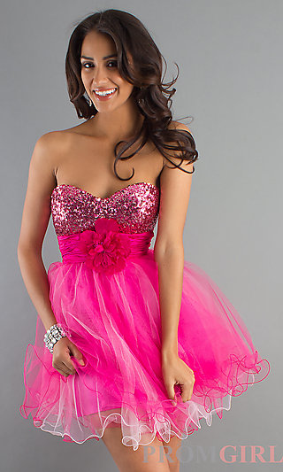 Short Prom Dress, Strapless Baby Doll Dress, Party Dress-PromGirl