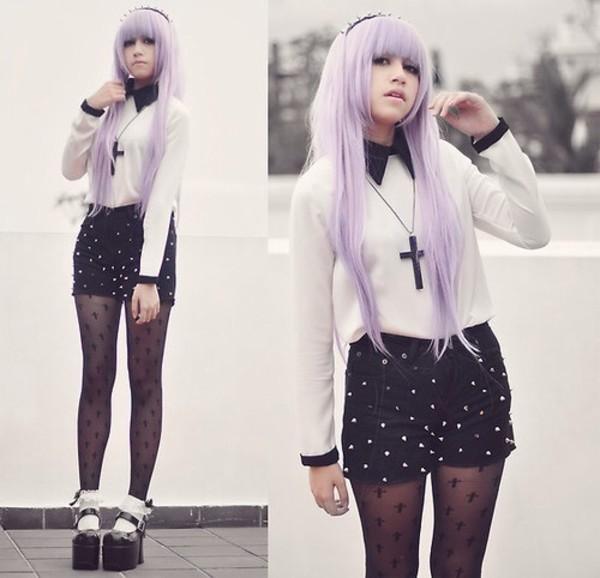 blouse pastel goth pastel grunge goth kawaii cross necklace shorts underwear jewels leggings socks goth hipster black tights