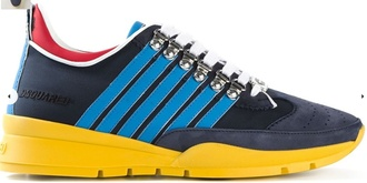 shoes blue yellow overlaced mens sneakers dsquared