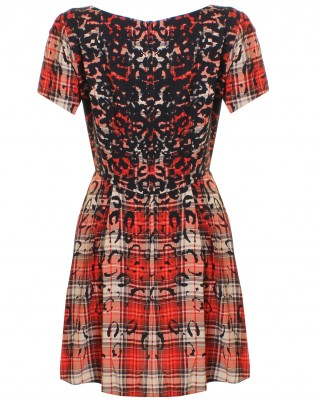 LOVE Tartan And Animal Print Woven Skater Dress  - In Love With Fashion