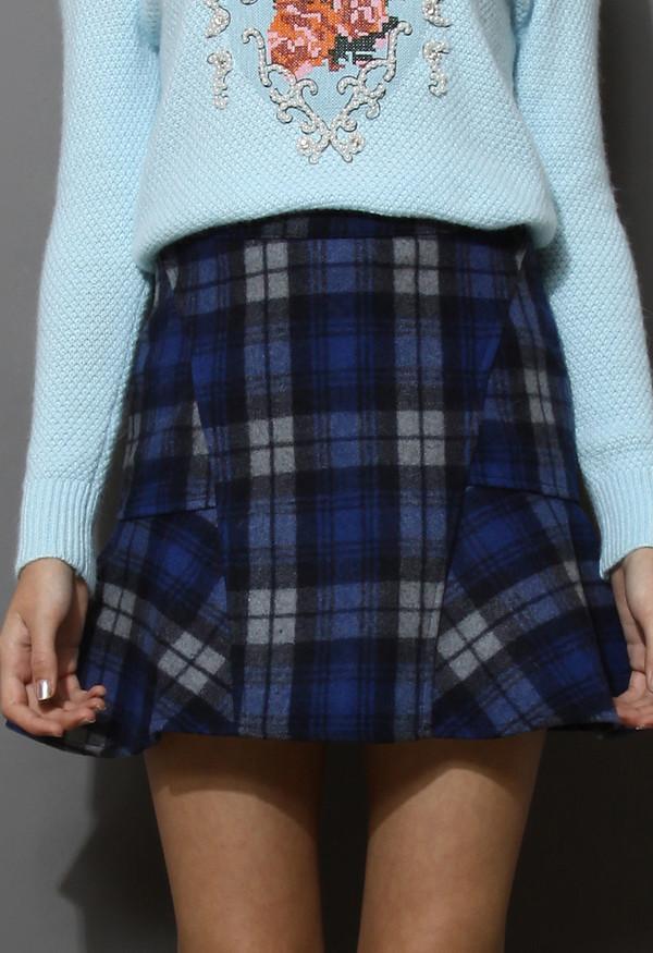 skirt blue tartan wool felt frill hem