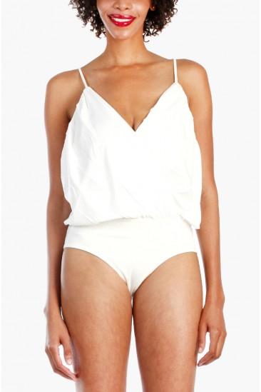 LoveMelrose.com From Harry & Molly   Spaghetti Deep V Neck Bodysuit - White