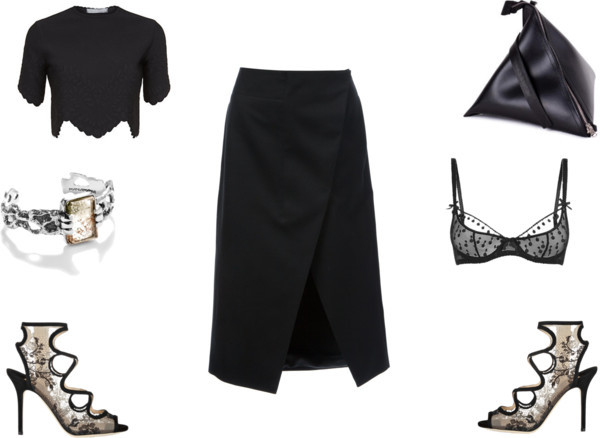 the blonde silhouette t-shirt skirt shoes underwear jewels bag