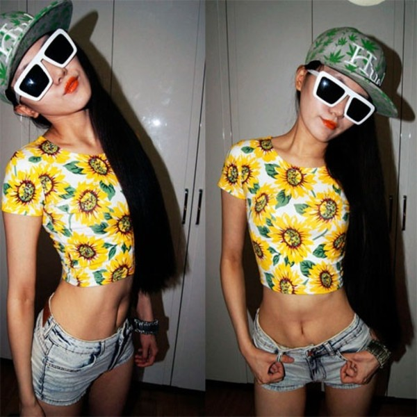 shirt sexy crop tops floral white yellow sunflower summer funny bright