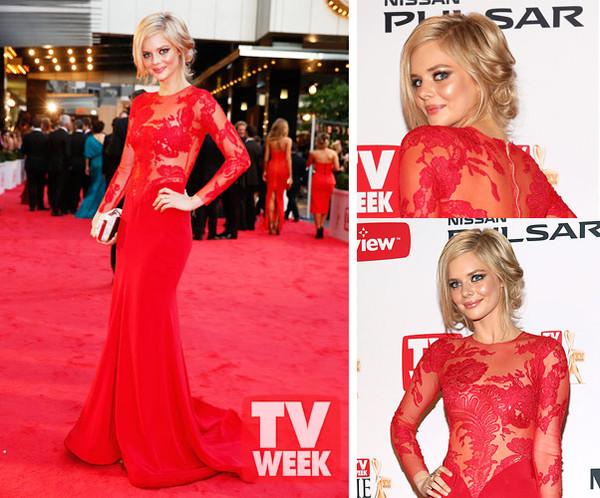 dress red dress evening dress floor length dress floral embroidery mesh samara weaving