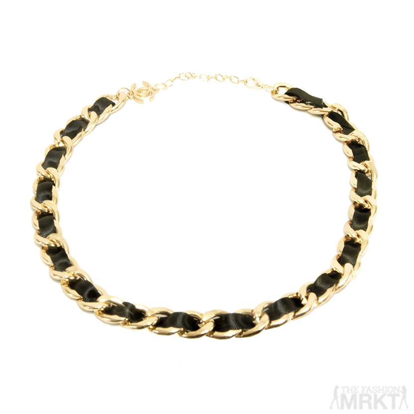 Chanel Inspired Gold-tone Chain Link Necklace with Satin Ribbon