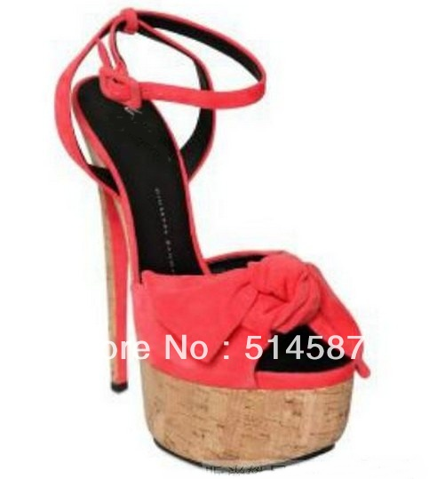 New arrival ladies summer platform sandals coral flock leather pumps bowtie 18cm high heel dress shoes-in Sandals from Shoes on Aliexpress.com