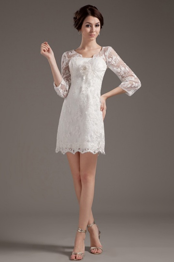 Short Ivory Chic Sleeveless Flowers Lace Wedding gown [WBCF1821]- US$ 160.99 - PersunMall.com