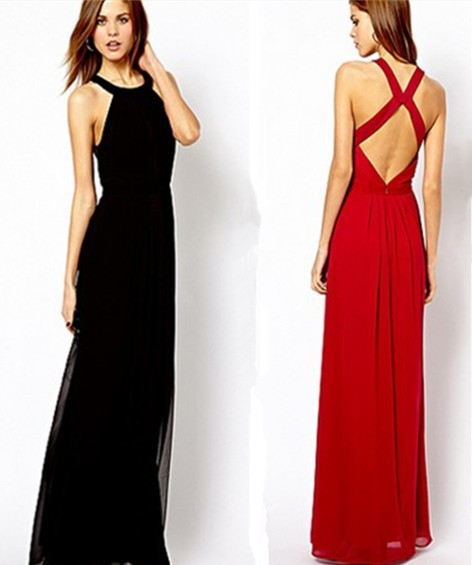 New Spring 2014 Fashion Women Clothing Elegant Summer Dress Chiffon Solid Red Casual Dress Backless Sexy Floor Length Dresses-in Dresses from Apparel & Accessories on Aliexpress.com