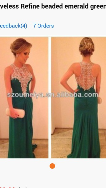 dress emerald green prom dress beaded sleeveless dress