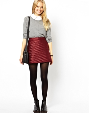 ASOS   ASOS A-Line Quilted Skirt at ASOS