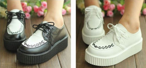 Hot Sell Womens Lace Up High Punk Checker Platform Flats Creeper Shoes | eBay