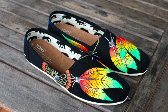 Rasta style Dream Catcher TOMS by BStreetShoes on Etsy
