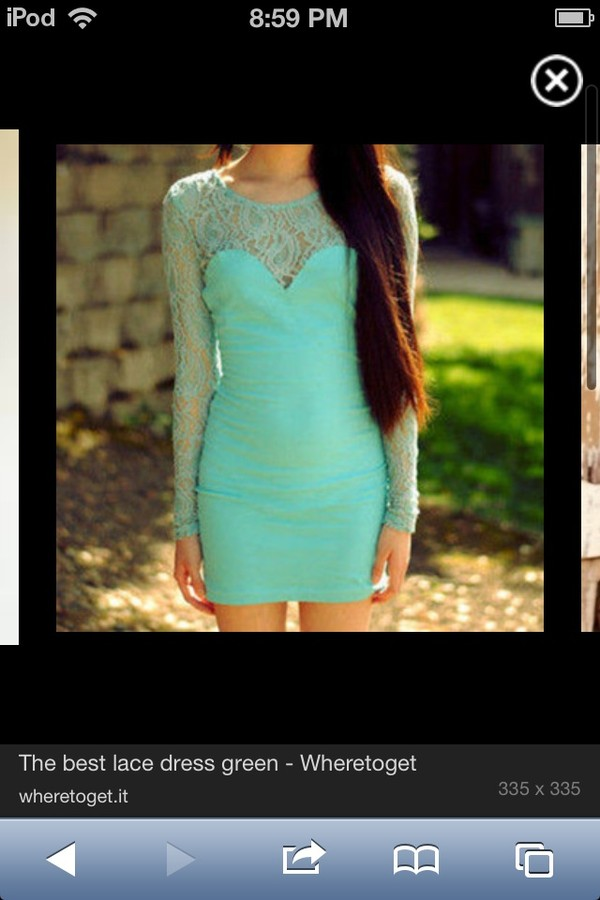 dress mint dress bodycon dress lace dress