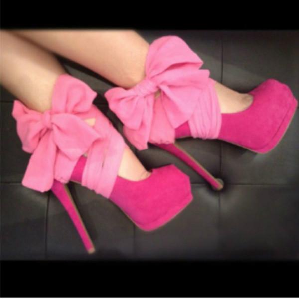 shoes pink high heels cute high heels pink high heels fashion pink hells heels platform heels girly bow bows on shoes bows platform shoes