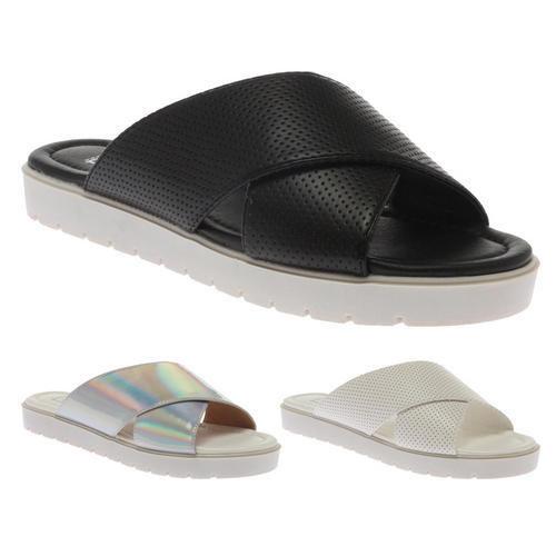 New Ladies Cross Over Strap Low Flatform Womens Flip Flops Beach Sandals Size 5   eBay