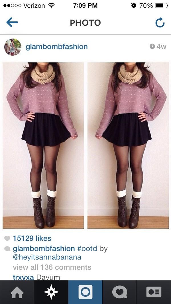 dress skirt shirt shoes scarf sweater