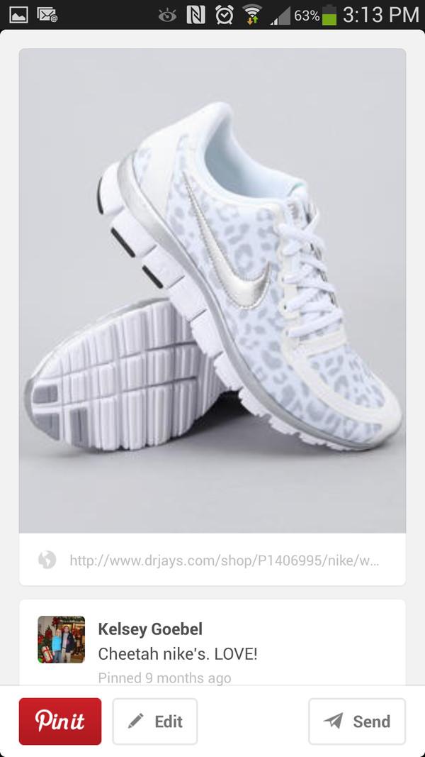 shoes nike leopard print silver tennis shoes