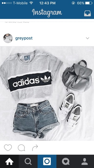 shorts grey denim shorts high waisted shorts backpack white sneakers adidas grey top adidas shoes cropped silver t-shirt graphic tee tumblr grey t-shirt grey sweater pants bag denim shirt