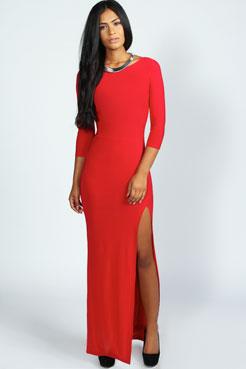 Candice Side Split Slinky Maxi Dress at boohoo.com