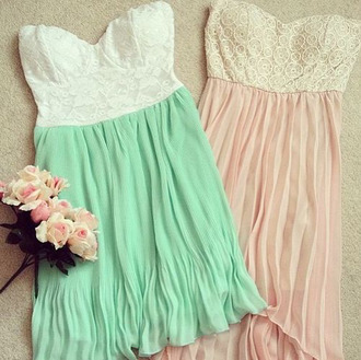 dress sea green pink short dress tube dress lace open back dresses