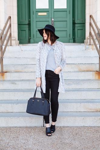 kendi everyday blogger jacket peep toe handbag floppy hat sweater top jeans bag hat jewels
