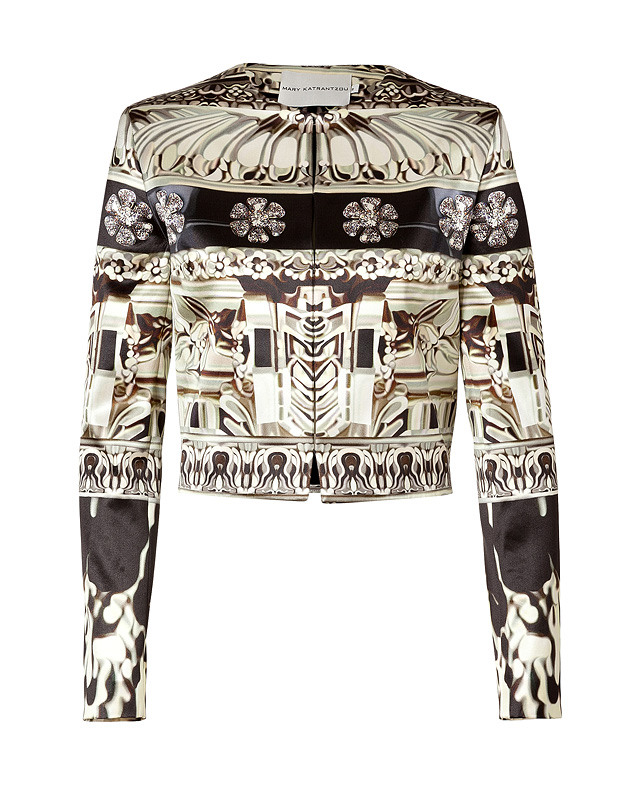 Black Crystal Print Silk-Cotton Cropped Jacket from MARY KATRANTZOU | Luxury fashion online | STYLEBOP.com