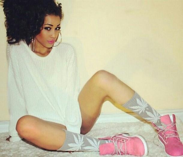 shoes pink timberlands huf socks