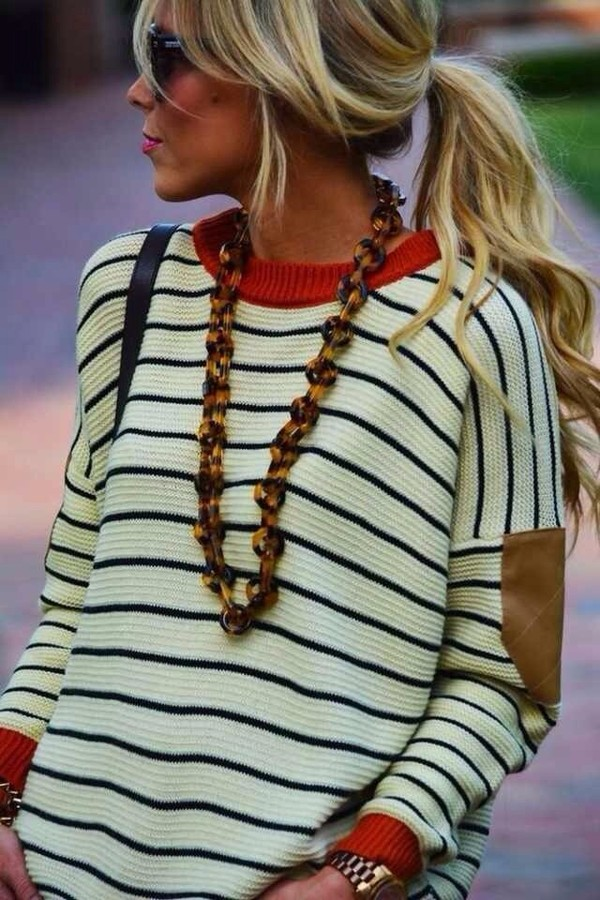 sweater striped sweater oversized sweater elbow patches