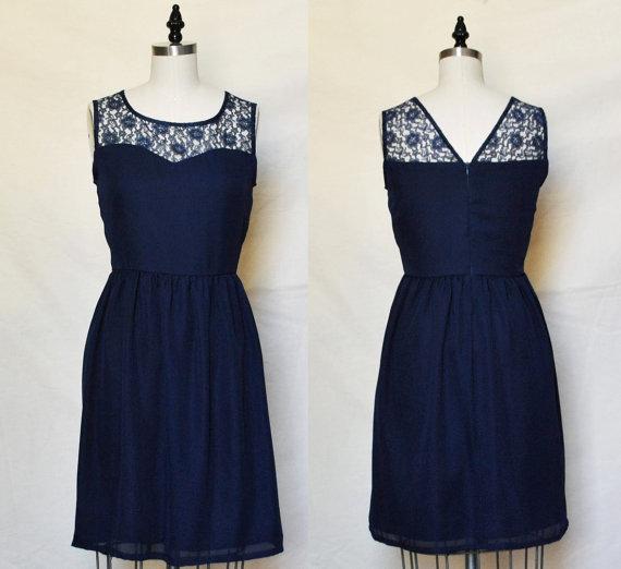 LORRAINE Navy  Navy chiffon dress lace sweetheart door mfandj