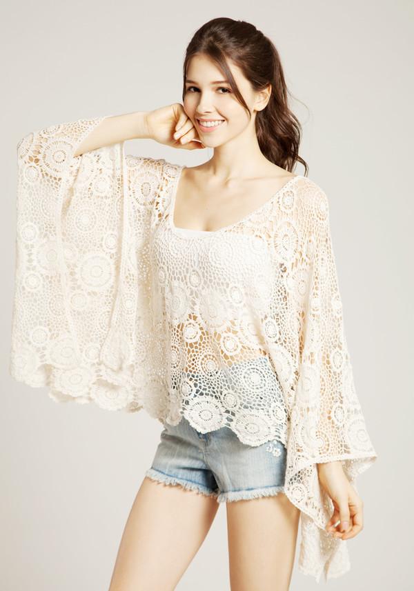 blouse crochet white boho boho bohemian