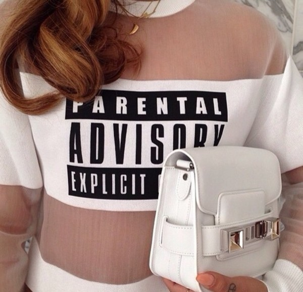 shirt parental advisory explicit content bag sweatshirt printed sweater white bag all white everything necklace