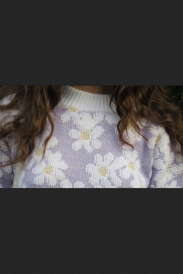 sweater floral pale pastel flowers soft jumper knit
