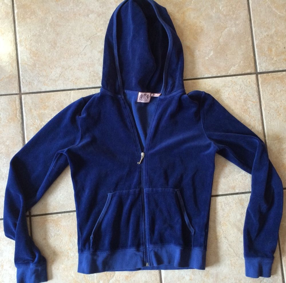 Juicy Couture Large Blue Velvet Track Jacket Lady Juicy Made in USA   eBay