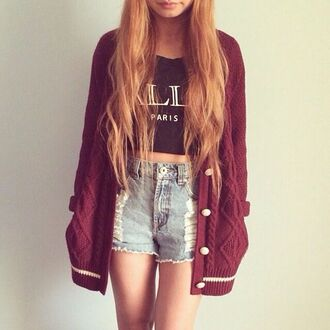 sweater burgundy burgundy sweater shorts black crop top high waisted denim shorts denim shorts tank top shirt jacket wine red t-shirt cardigan burgundy cardigan distressed denim shorts oversized cardigan wool cardigan wool cap high waisted shorts cable knit fall outfits oversized cerise knitted cardigan black paris