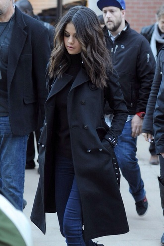 jacket selena gomez coat trench coat winter outfits fall outfits