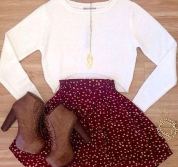 top long sleeves white crop tops skirt red dotted skirt red skirt wine skirt skater skirt