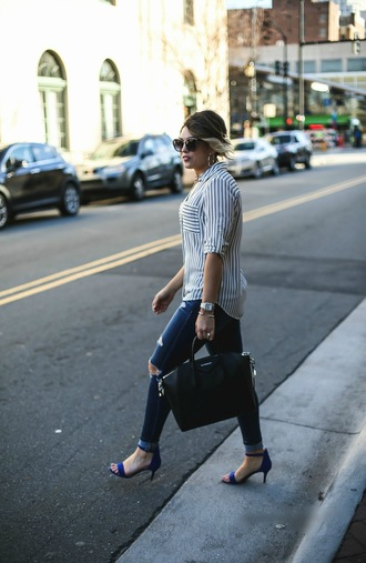 life & messy hair blogger shoes top sunglasses jewels skinny jeans givenchy bag handbag blue heels high heel sandals striped shirt