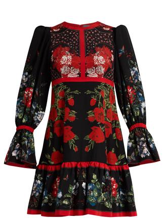 dress silk dress floral print silk black red