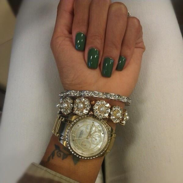 jewels gold watch bracelets nail polish nails