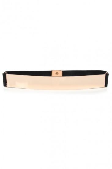 LoveMelrose.com From Harry & Molly | Gold Plate Belt - Gold / Black